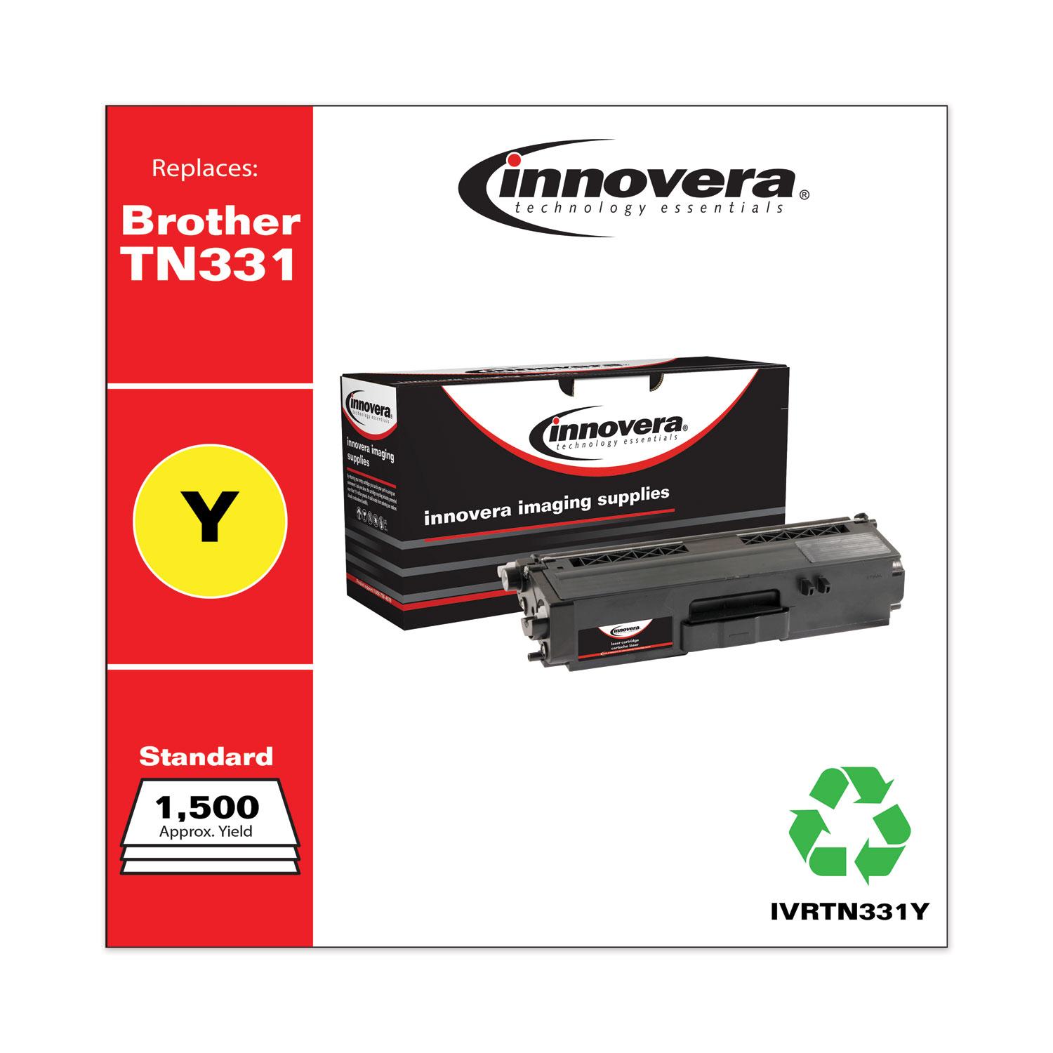 Remanufactured Yellow Toner, Replacement for Brother TN331Y, 1,500 Page-Yield IVRTN331Y