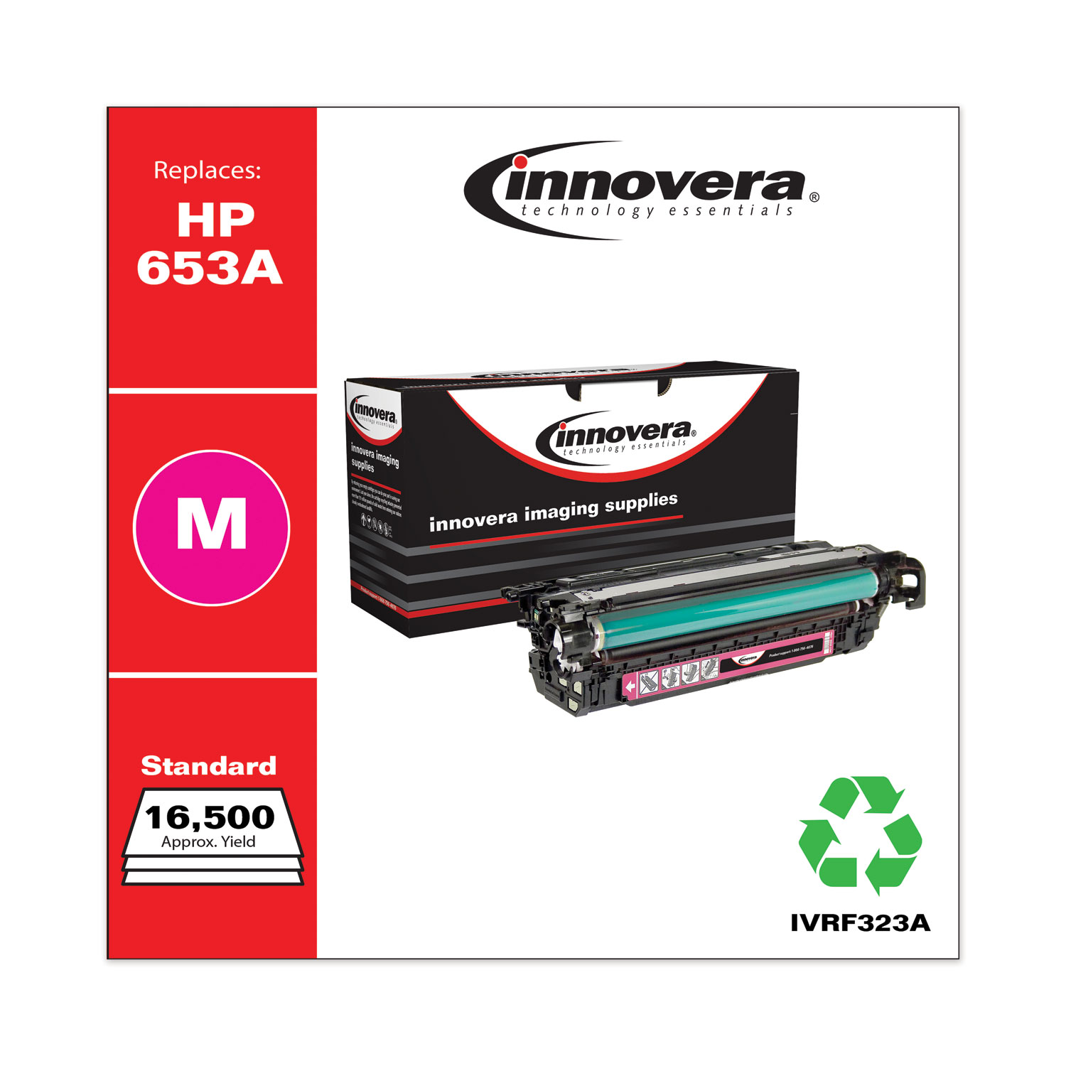 Remanufactured Magenta Toner, Replacement for HP 653A (CF323A), 16,500 Page-Yield IVRF323A