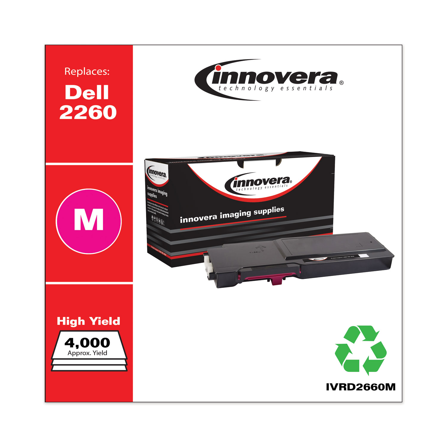Remanufactured Magenta High-Yield Toner, Replacement for Dell D2660 (593-BBBS), 4,000 Page-Yield IVRD2660M