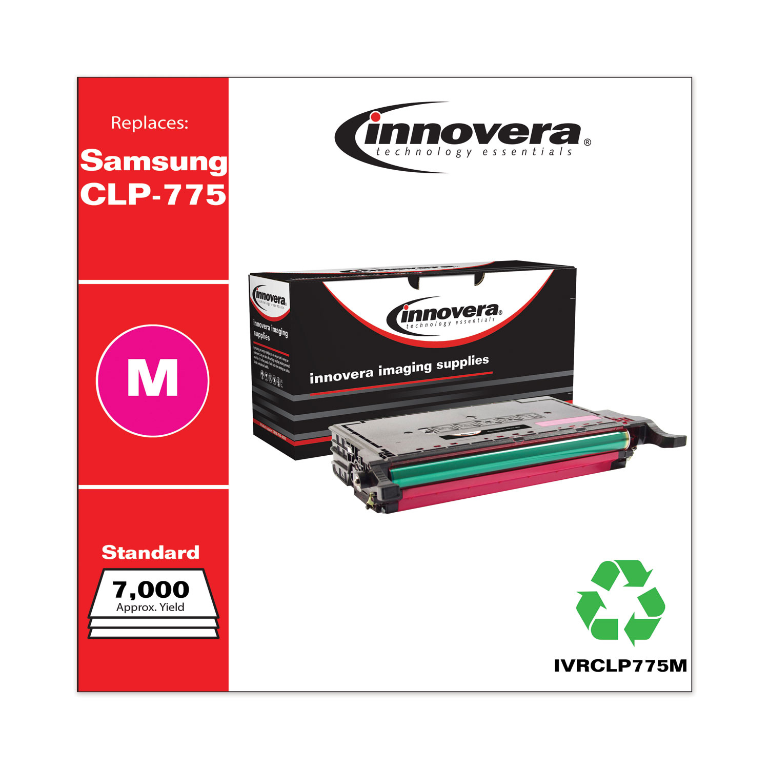 Remanufactured Magenta Toner, Replacement for Samsung CLP-775 (CLT-M609S), 7,000 Page-Yield IVRCLP775M