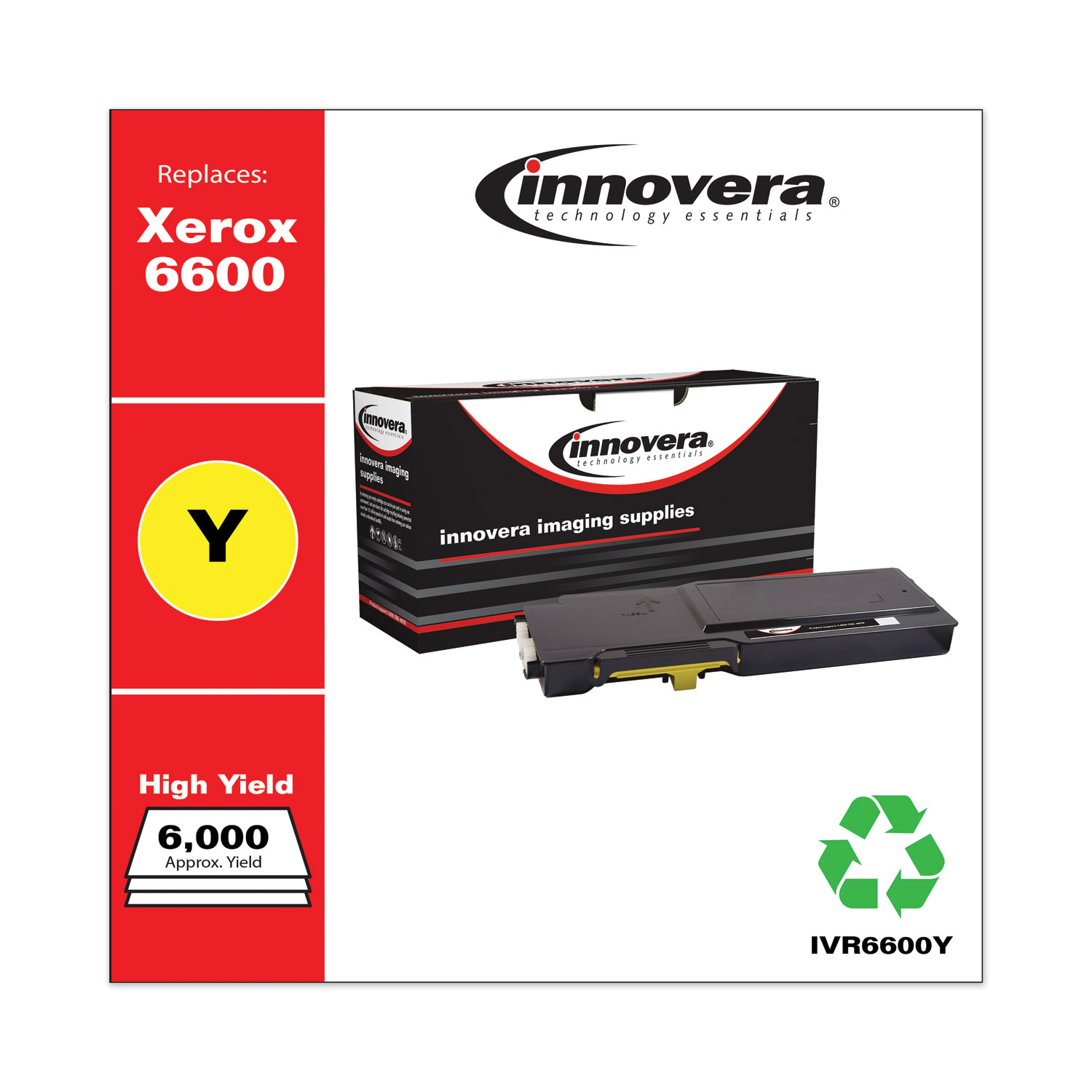 Remanufactured Yellow High-Yield Toner, Replacement for Xerox 6600 (106R02227), 6,000 Page-Yield IVR6600Y