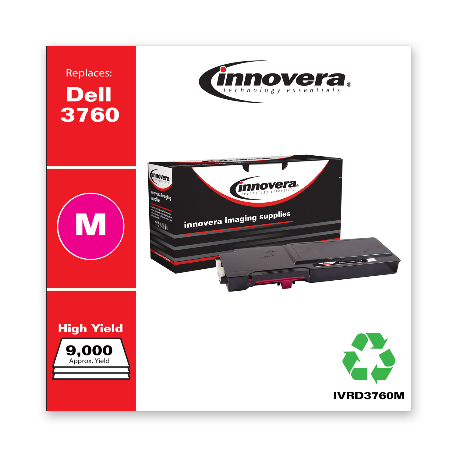 Remanufactured Magenta Toner, Replacement for Dell C3760 (331-8431), 9,000 Page-Yield IVRD3760M