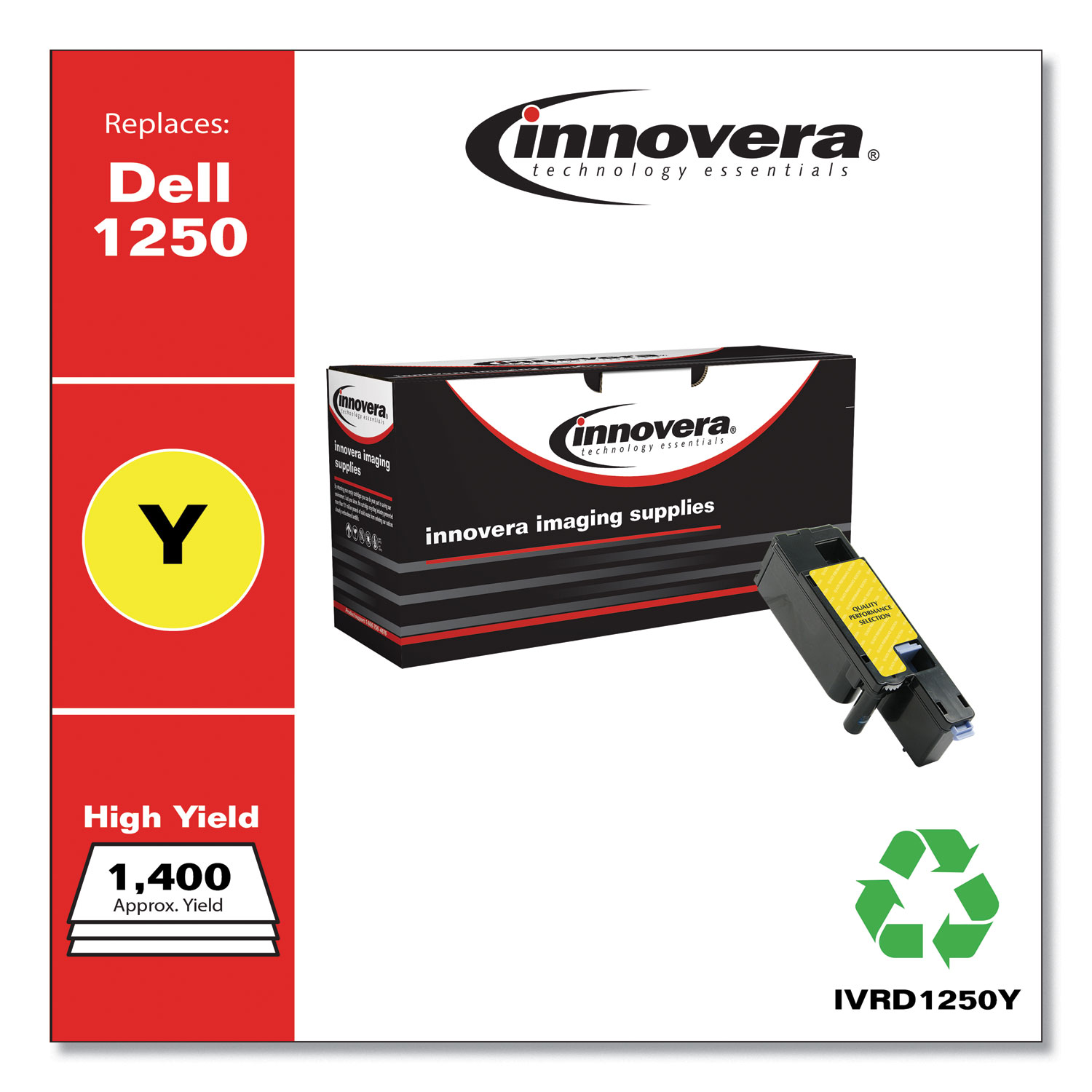 Remanufactured Yellow High-Yield Toner, Replacement for Dell 1250 (331-0779), 1,400 Page-Yield IVRD1250Y