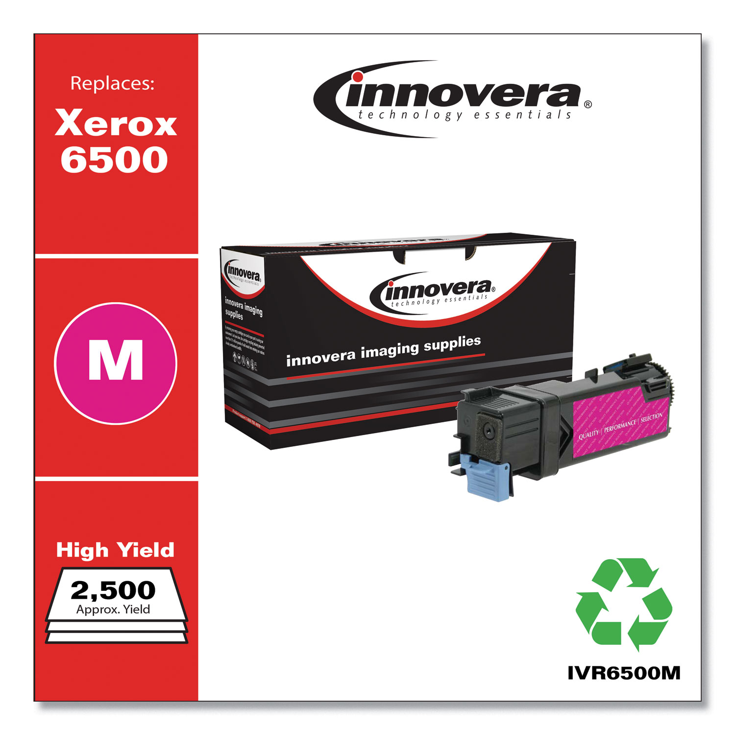 Remanufactured Magenta High-Yield Toner, Replacement for Xerox 6500 (106R01595), 2,500 Page-Yield IVR6500M