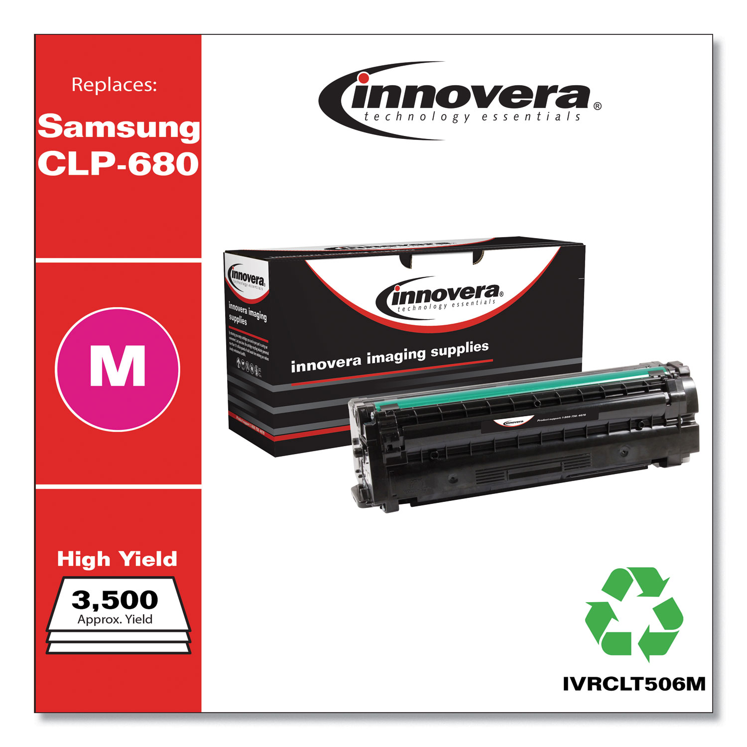 Remanufactured Magenta High-Yield Toner, Replacement for Samsung CLT-506 (CLT-M506L), 3,500 Page-Yield IVRCLT506M