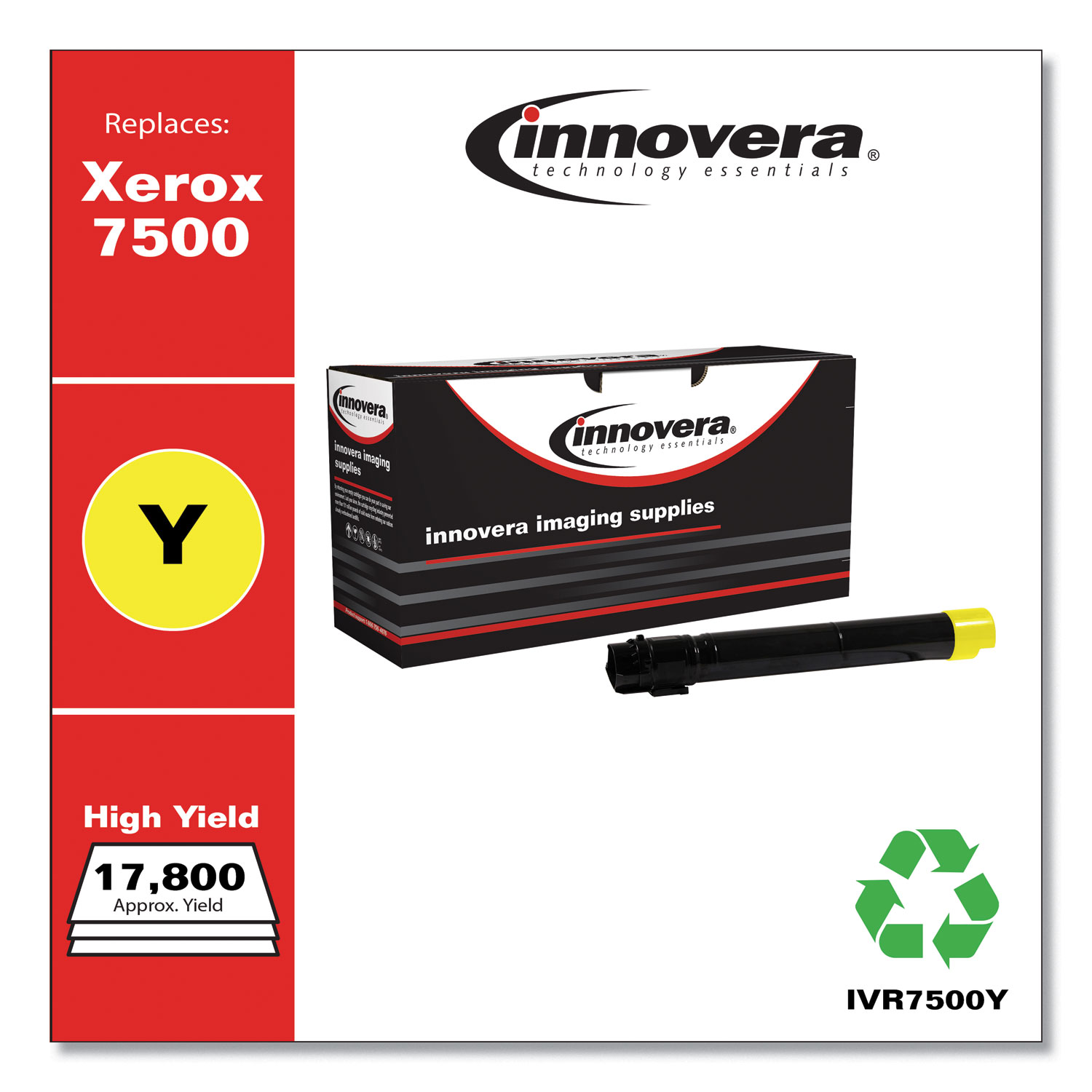 Remanufactured Yellow High-Yield Toner, Replacement for Xerox 106R01438, 17,800 Page-Yield IVR7500Y