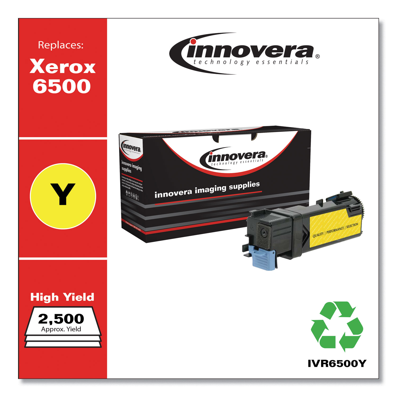 Remanufactured Yellow High-Yield Toner, Replacement for Xerox 6500 (106R01596), 2,500 Page-Yield IVR6500Y