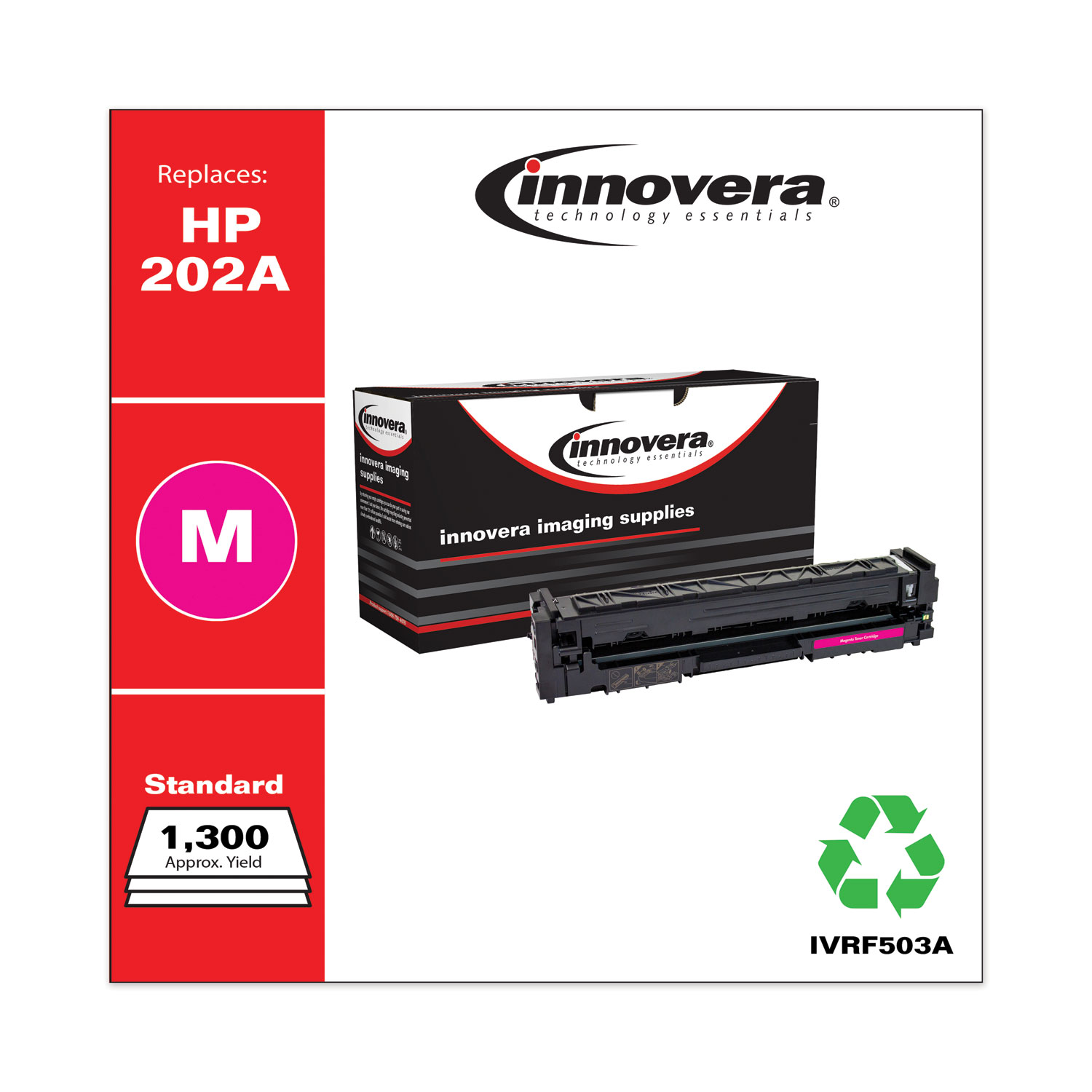Remanufactured Magenta Toner, Replacement for HP 202A (CF503A), 1,300 Page-Yield IVRF503A
