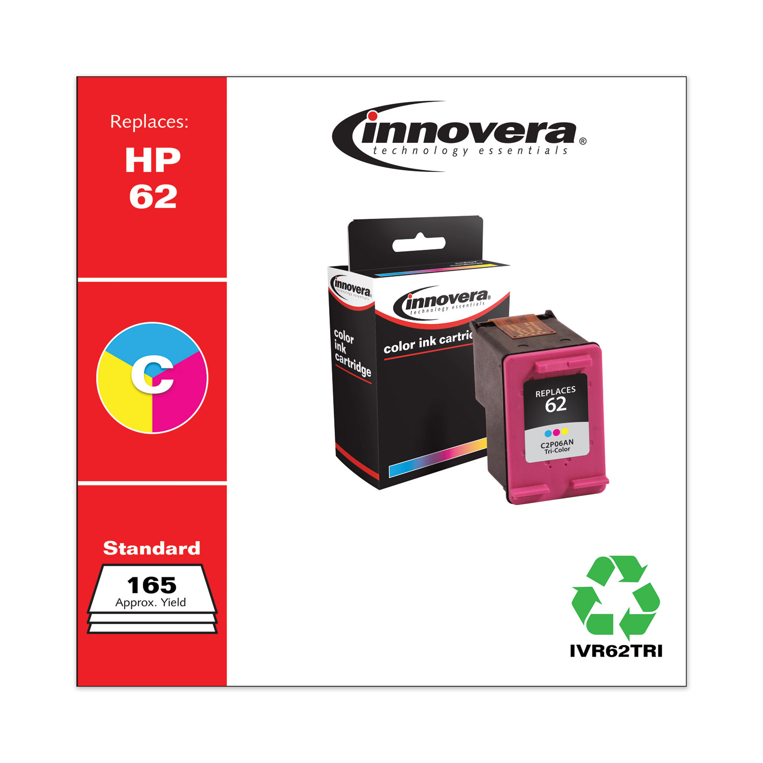 Remanufactured Tri-Color Ink, Replacement for HP 62 (C2P06AN), 165 Page-Yield IVR62TRI