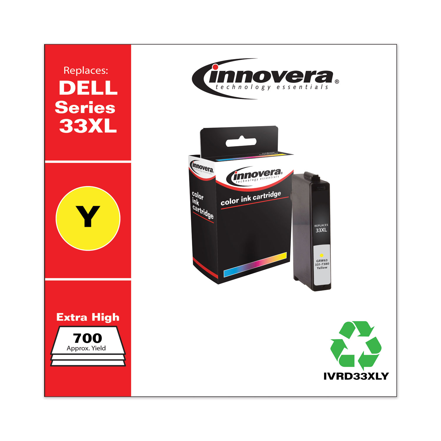 Remanufactured Yellow Ink, Replacement for Dell 33XL (GRW63331-7380), 700 Page-Yield IVRD33XLY
