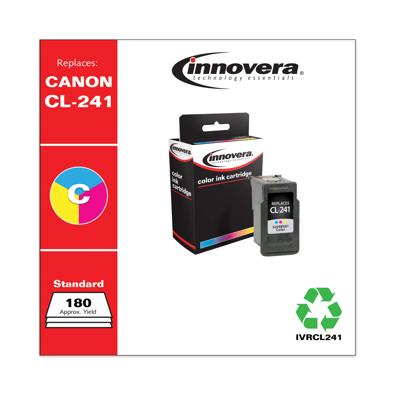 Remanufactured Tri-Color Ink, Replacement for Canon CL-241 (5209B001), 180 Page-Yield IVRCL241