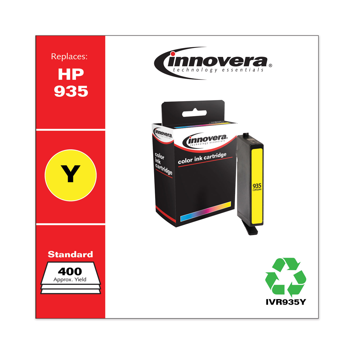 Remanufactured Yellow Ink, Replacement for HP 935 (C2P22AN), 400 Page-Yield IVR935Y