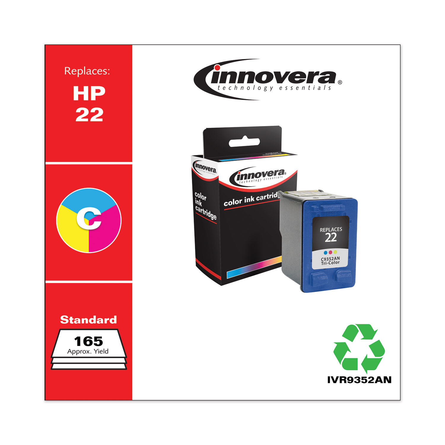Remanufactured Tri-Color Ink, Replacement for HP 22 (C9352AN), 165 Page-Yield IVR9352AN