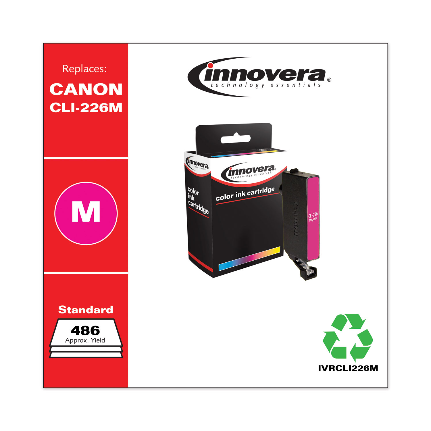 Remanufactured Magenta Ink, Replacement for Canon CLI-226 (4548B001), 486 Page-Yield IVRCLI226M