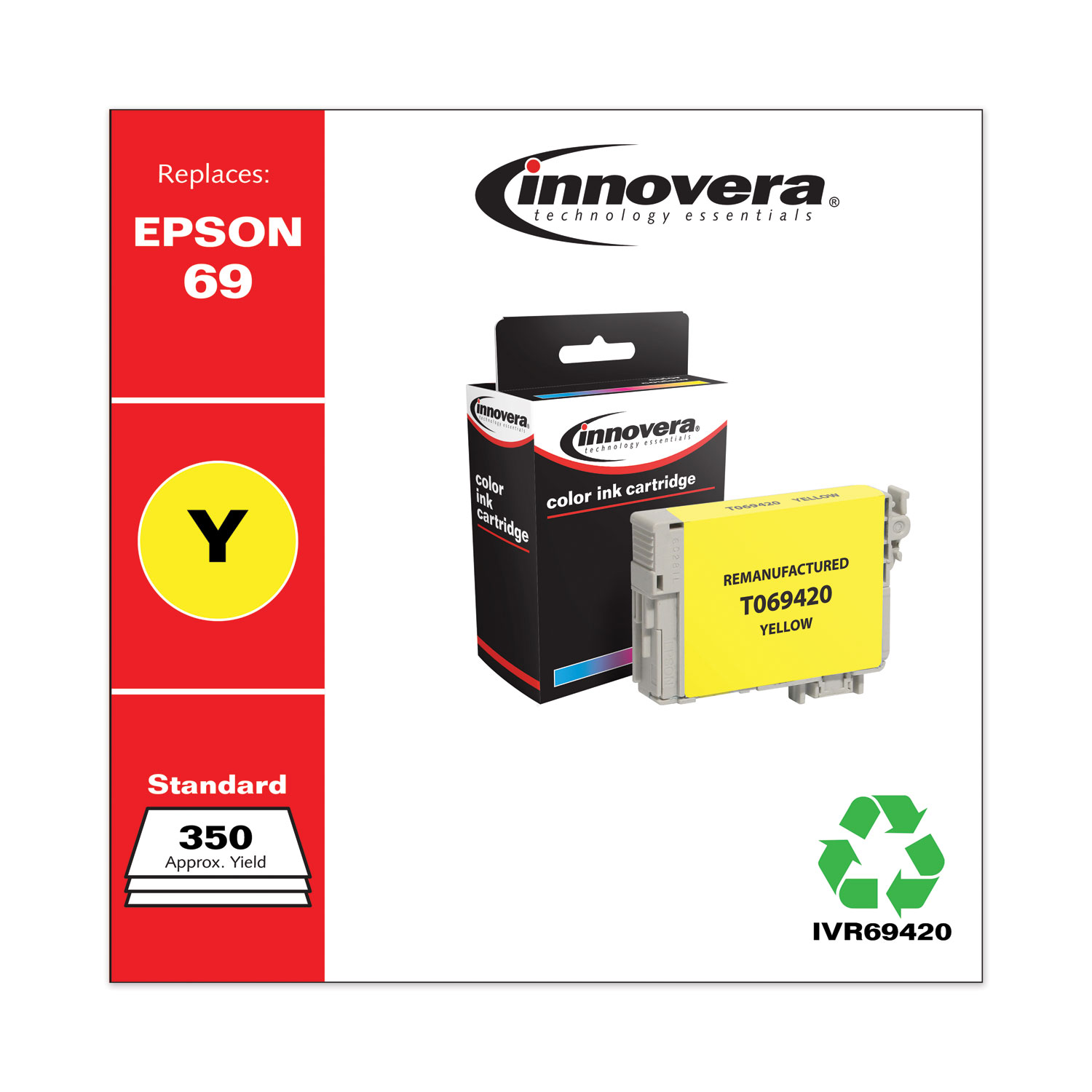 Remanufactured Yellow Ink, Replacement for Epson 69 (T069420), 350 Page-Yield IVR69420