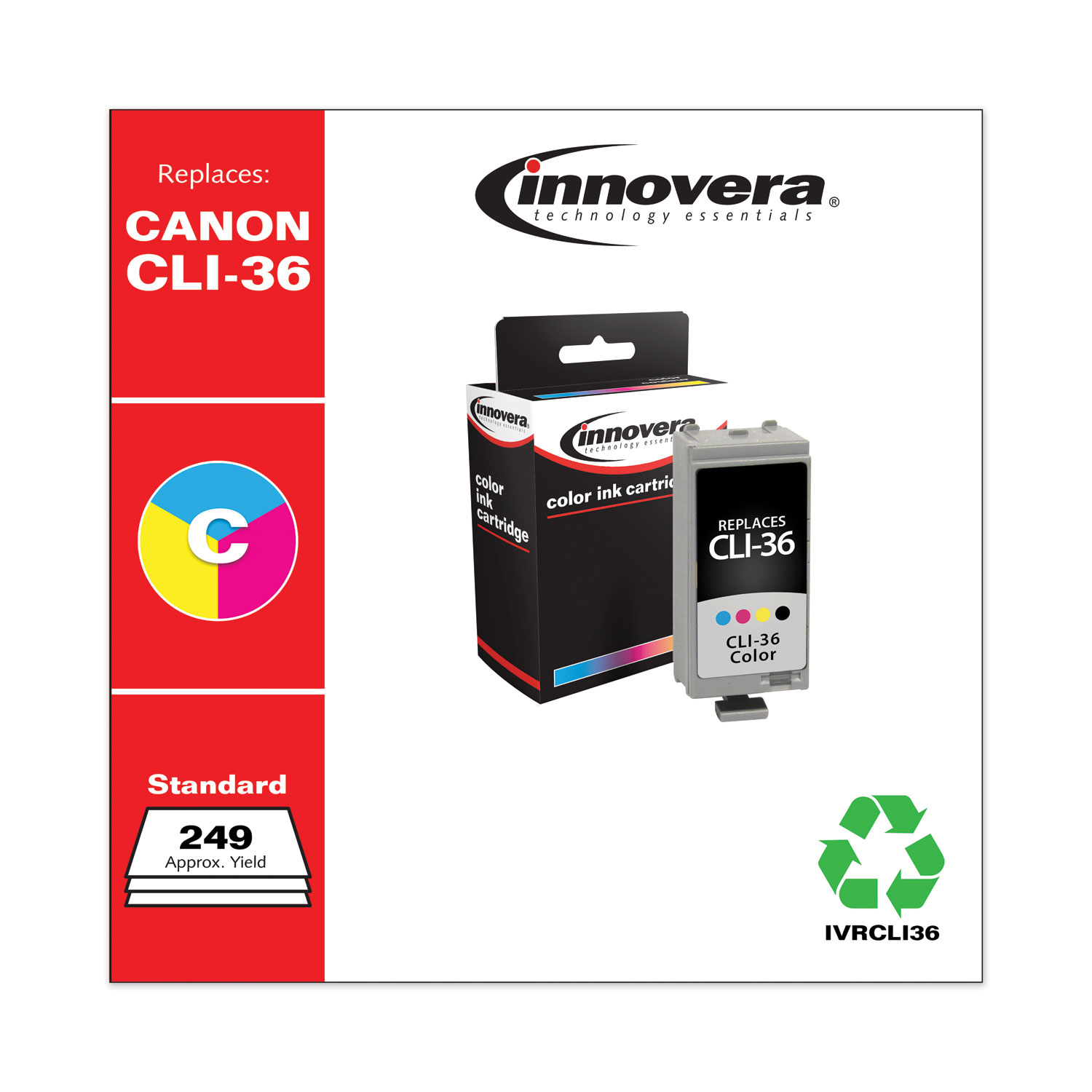 Remanufactured Tri-Color Ink, Replacement for Canon CLI-36 (1511B002), 249 Page-Yield IVRCLI36