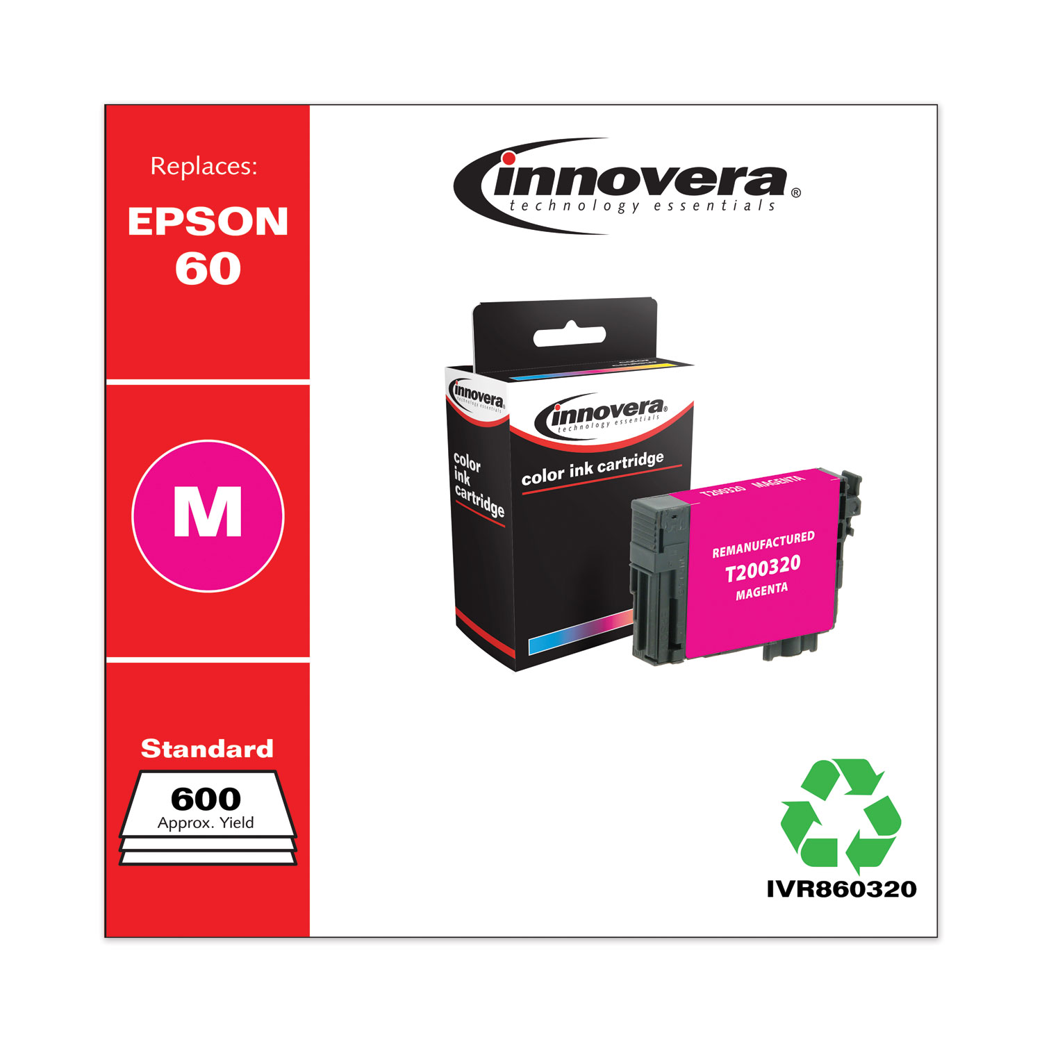 Remanufactured Magenta Ink, Replacement for Epson 60 (T060320), 600 Page-Yield IVR860320
