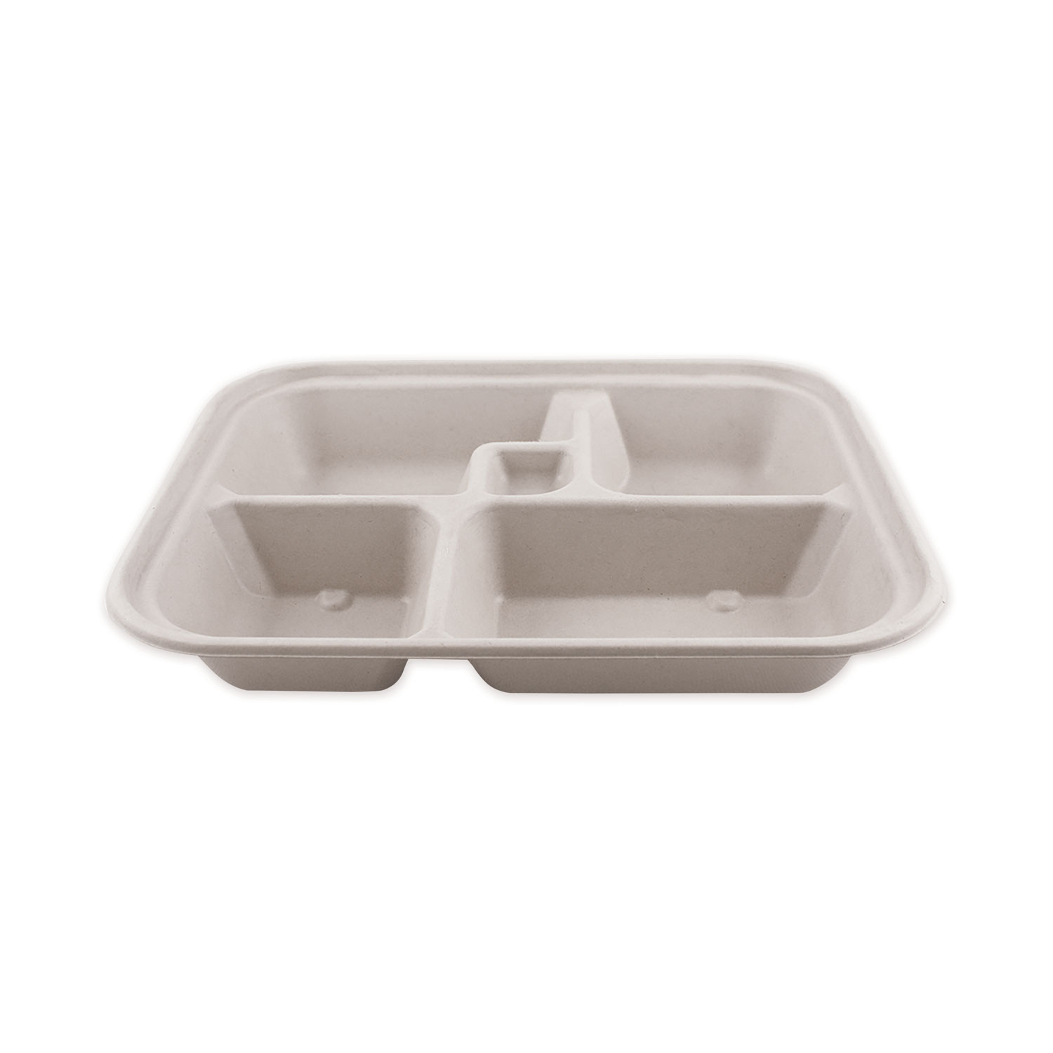 World Centric® Fiber Bento Box Containers, Five Compartments, 11.8 x 9.4 x 2, Natural, 300/Carton