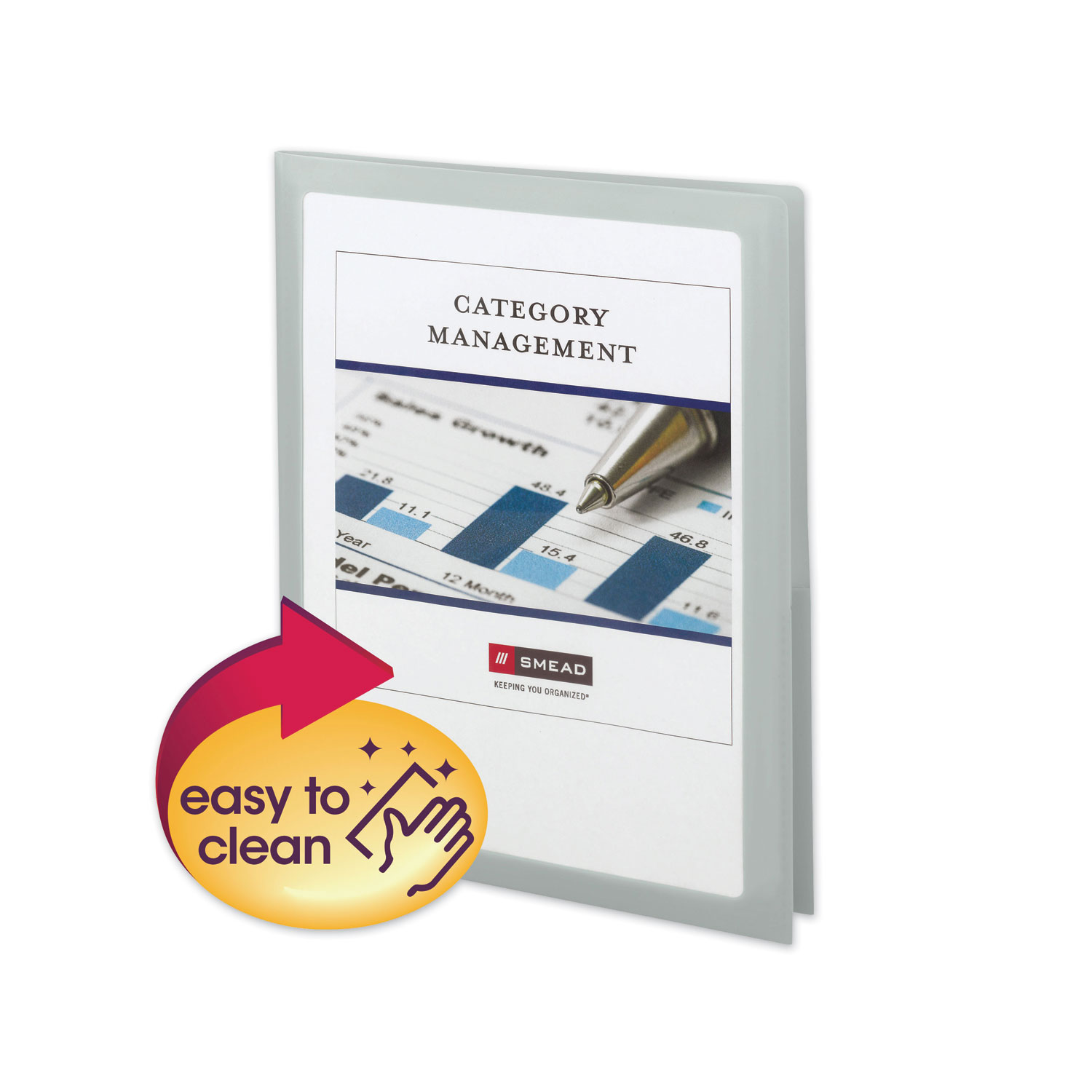 Frame View Poly Two-Pocket Folder, 11 x 8 1/2, Clear/Oyster, 5/Pack