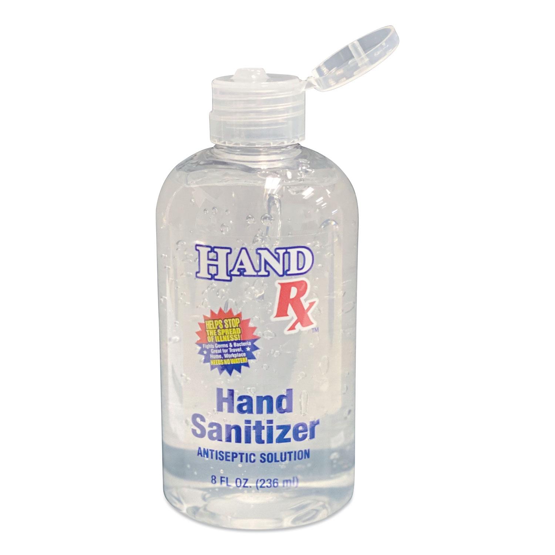 Hand Rx Sanitizer, 8 oz Bottle, Unscented, 12/Carton