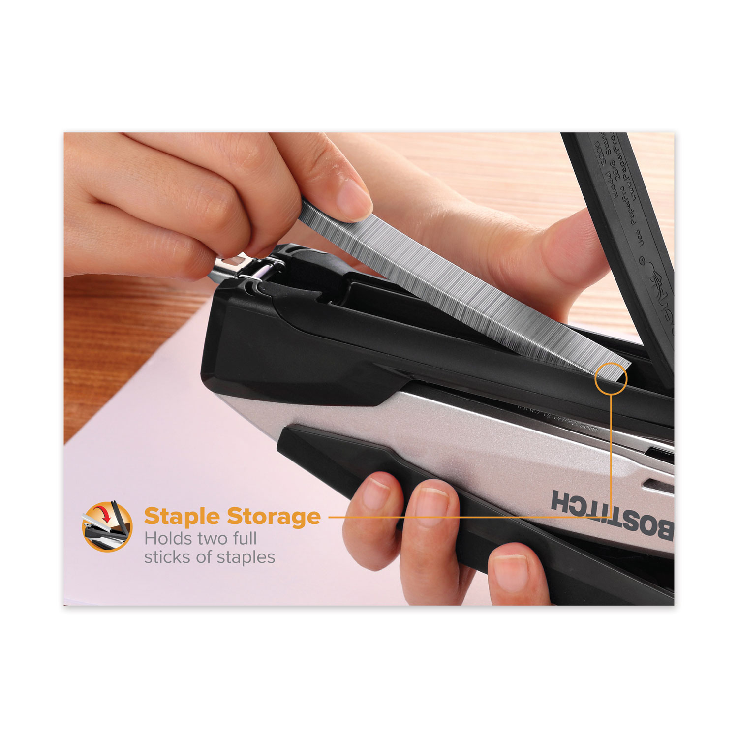 InPower Spring-Powered Premium Desktop Stapler 28-Sheet Capacity Black//Gray