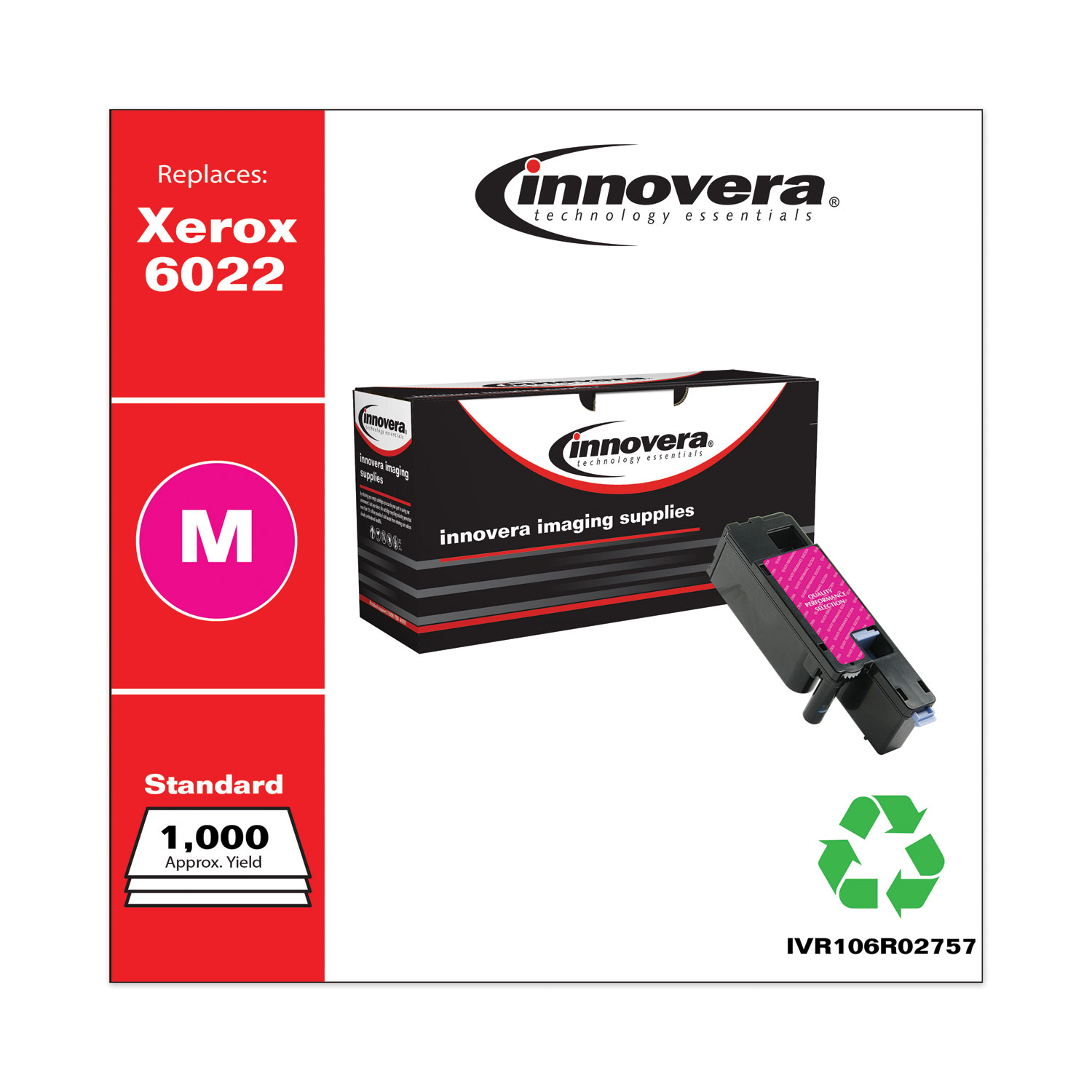 Remanufactured Magenta Toner, Replacement for Xerox 6022 (106R02757), 1,000 Page-Yield IVR106R02757