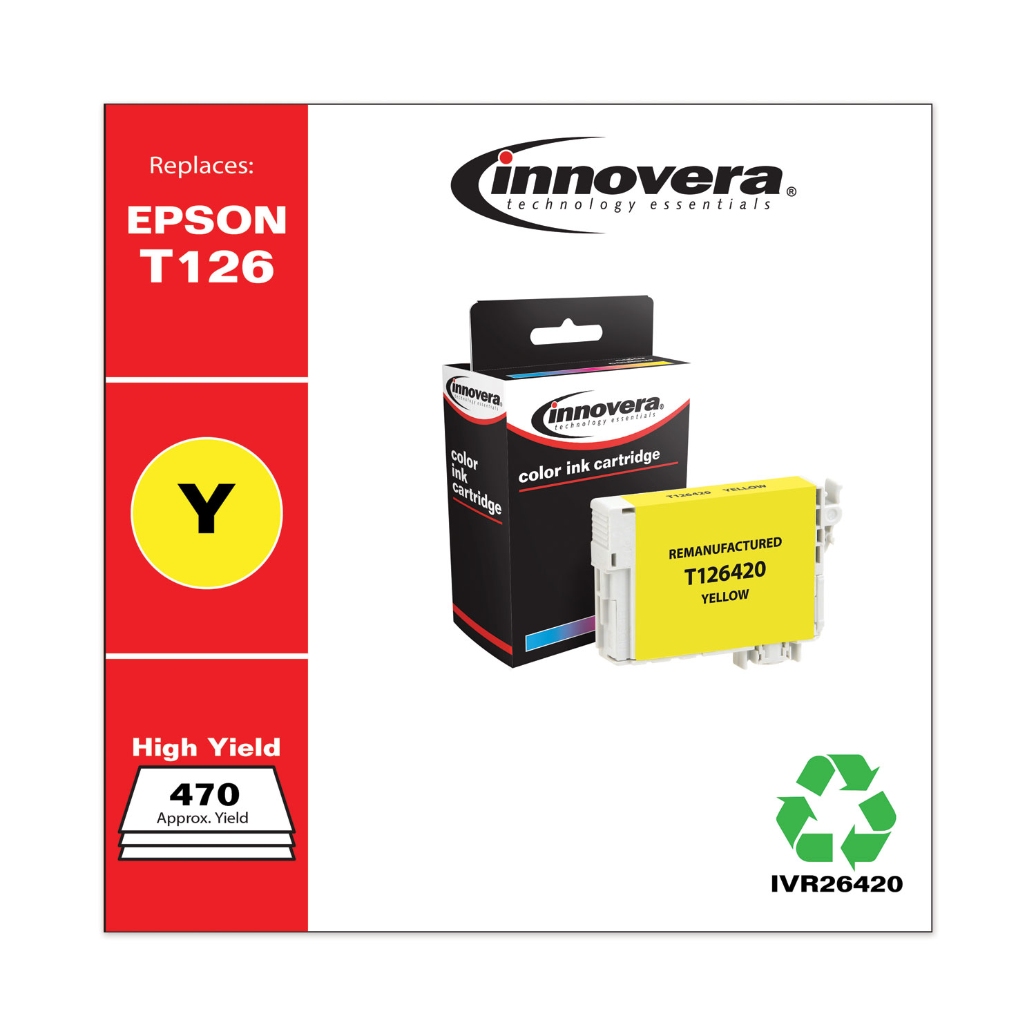 Remanufactured Yellow Ink, Replacement for Epson 126 (T126420), 470 Page-Yield IVR26420