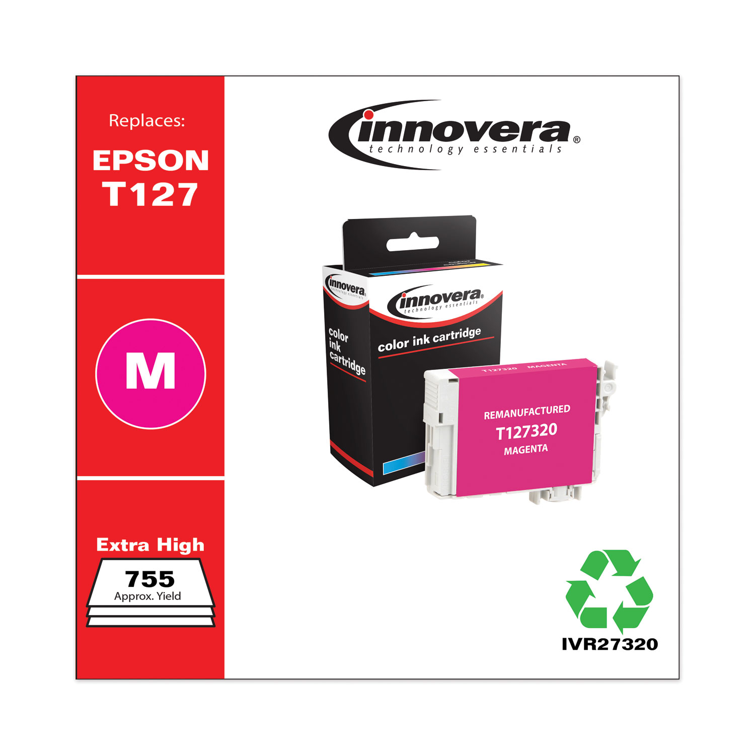 Remanufactured Magenta Ink, Replacement for Epson 127 (T127320), 755 Page-Yield IVR27320