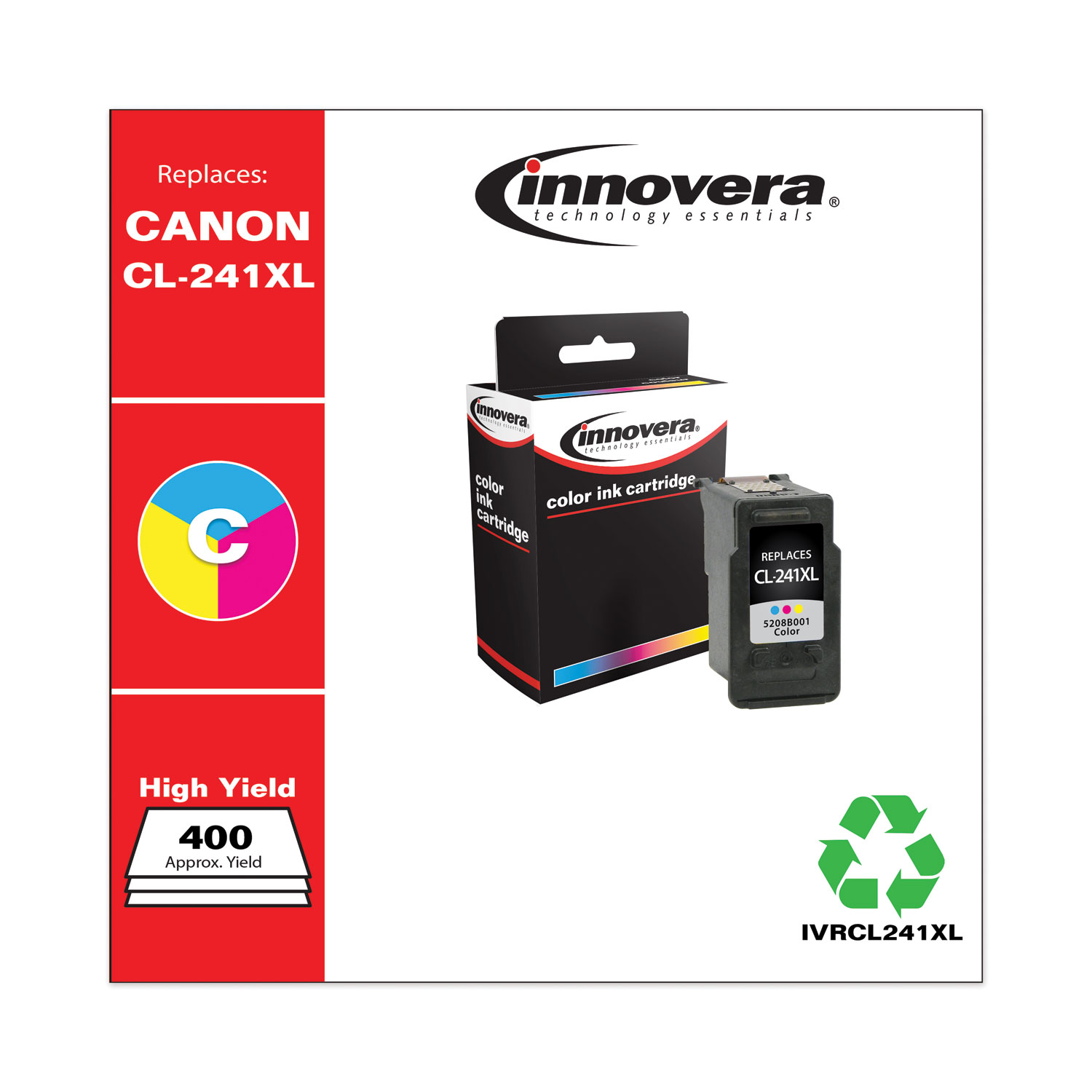 Remanufactured Tri-Color High-Yield Ink, Replacement for Canon CL-241XL (5208B001), 400 Page-Yield IVRCL241XL