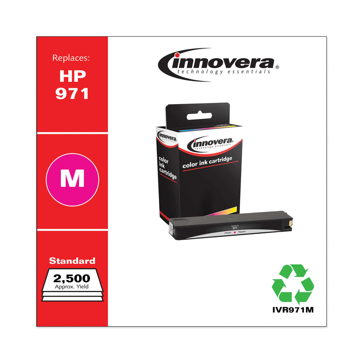Remanufactured Magenta Ink, Replacement for HP 971 (CN623AM), 2,500 Page-Yield IVR971M