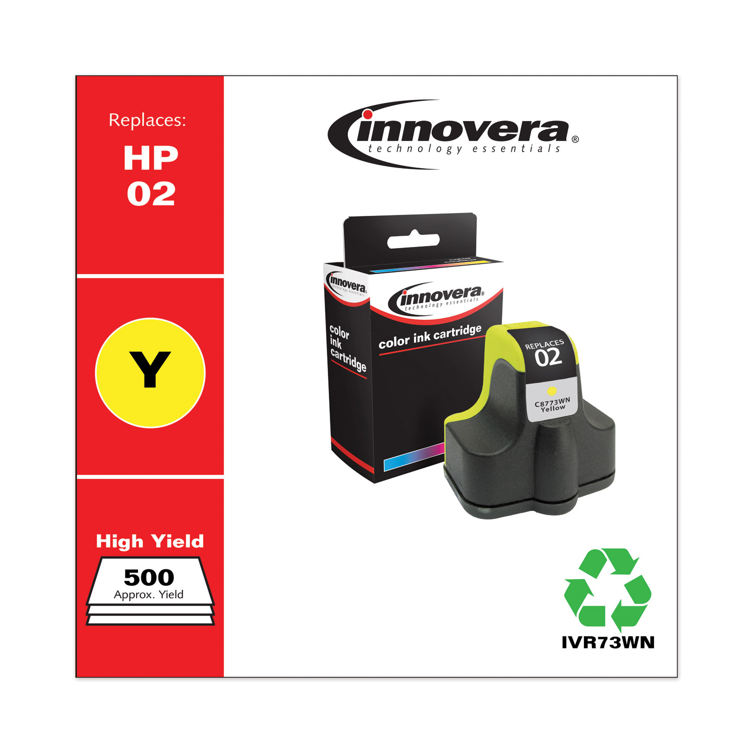 Remanufactured Yellow Ink, Replacement for HP 02 (C8773WN), 500 Page-Yield IVR73WN