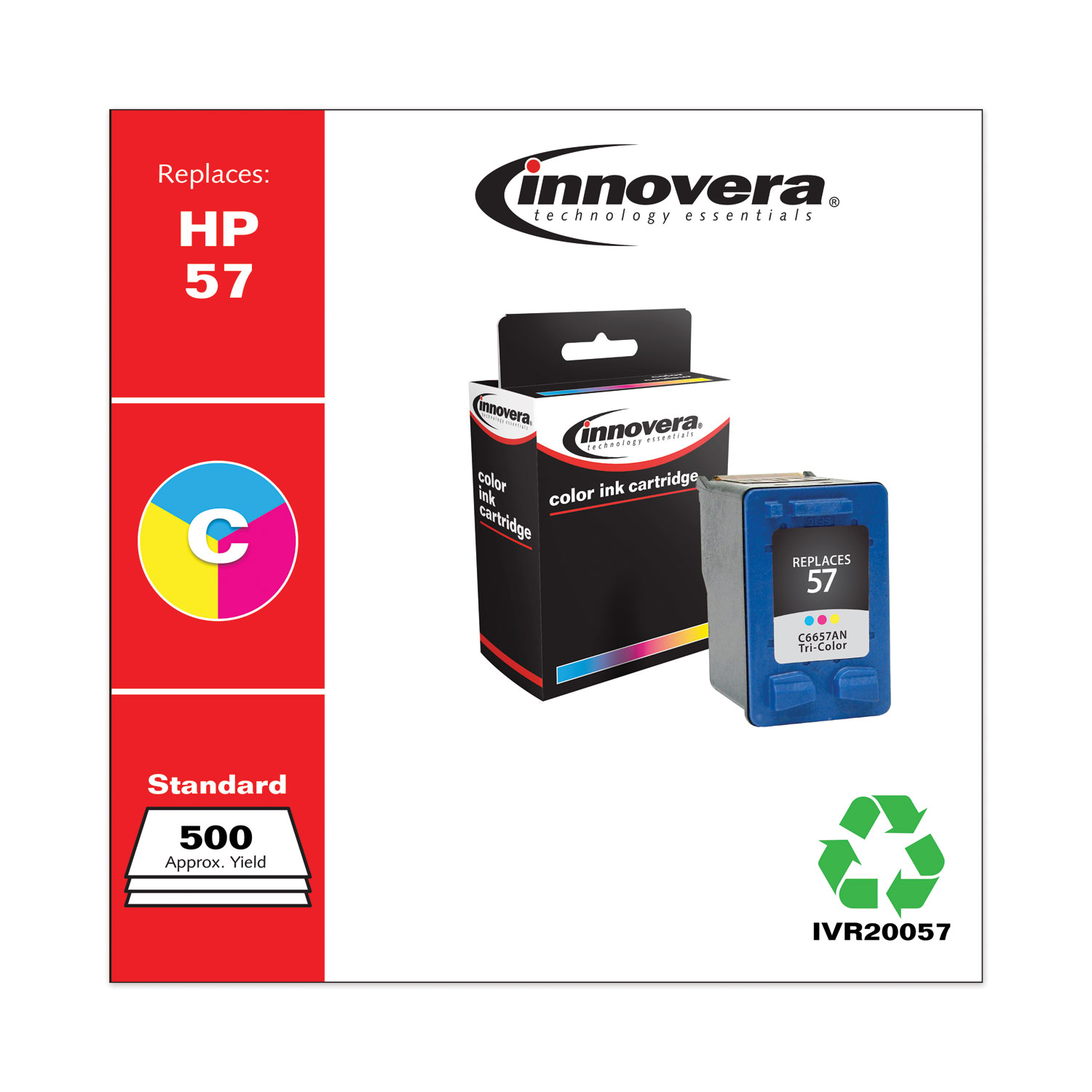 Remanufactured Tri-Color Ink, Replacement for HP 57 (C6657AN), 400 Page-Yield IVR20057