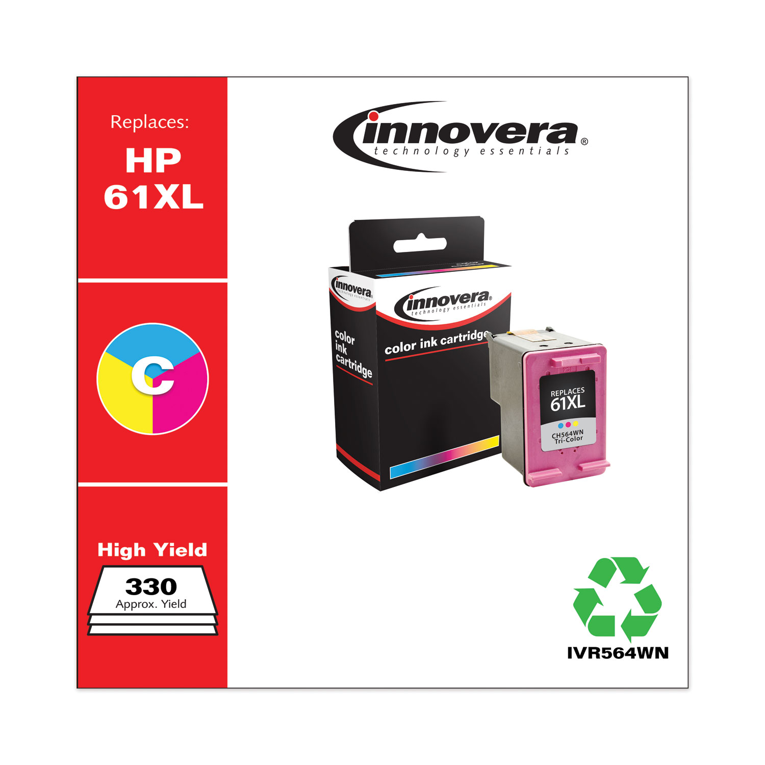 Remanufactured Tri-Color High-Yield Ink, Replacement for HP 61XL (CH564WN), 330 Page-Yield IVR564WN