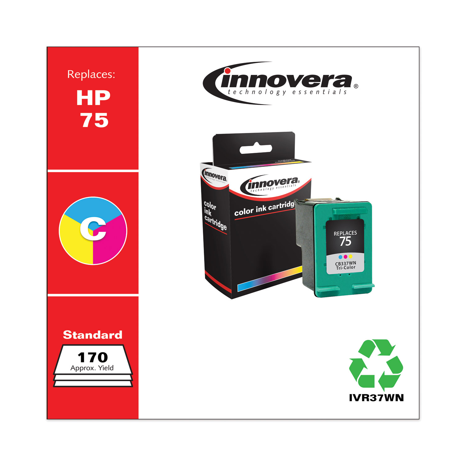 Remanufactured Tri-Color Ink, Replacement for HP 75 (CB337WN), 170 Page-Yield IVR37WN