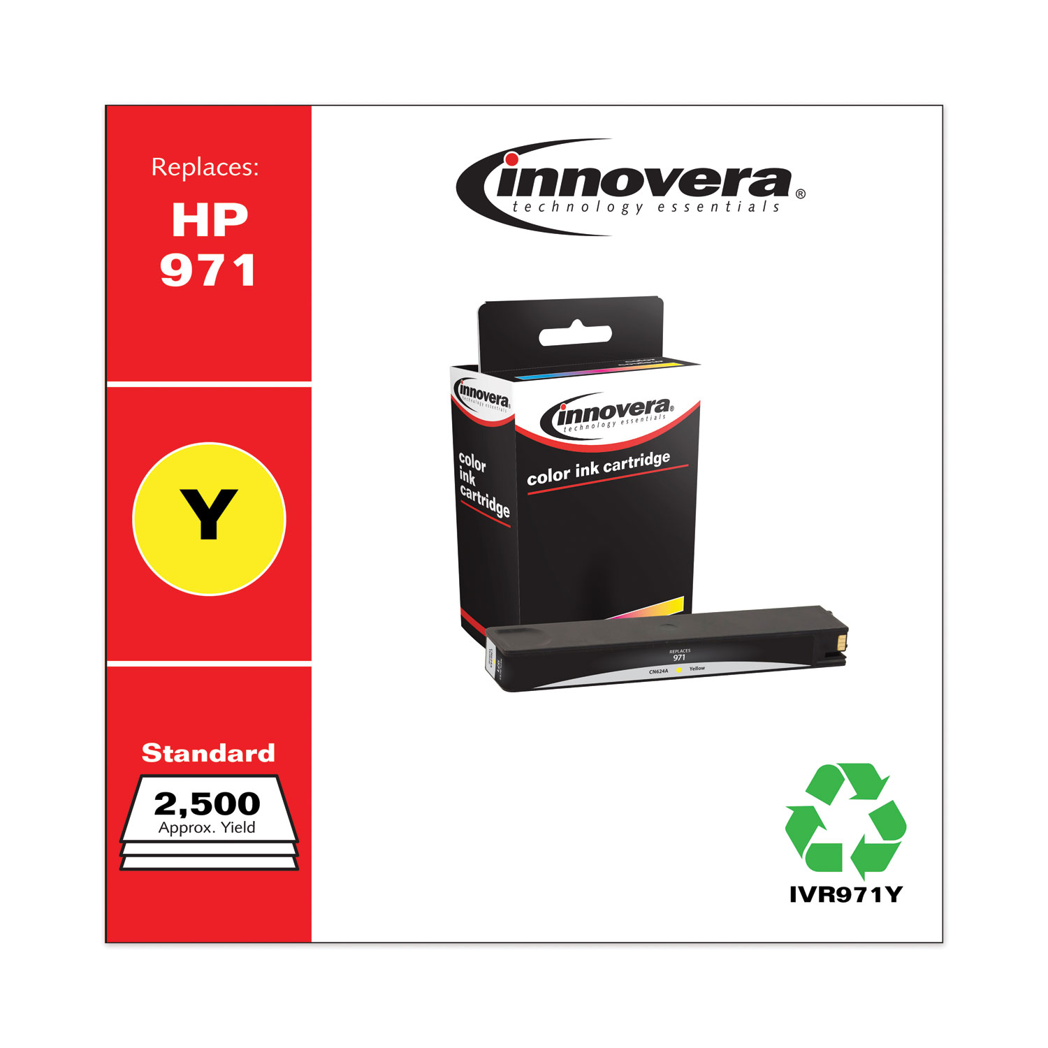 Remanufactured Yellow Ink, Replacement for HP 971 (CN624AM), 2,500 Page-Yield IVR971Y