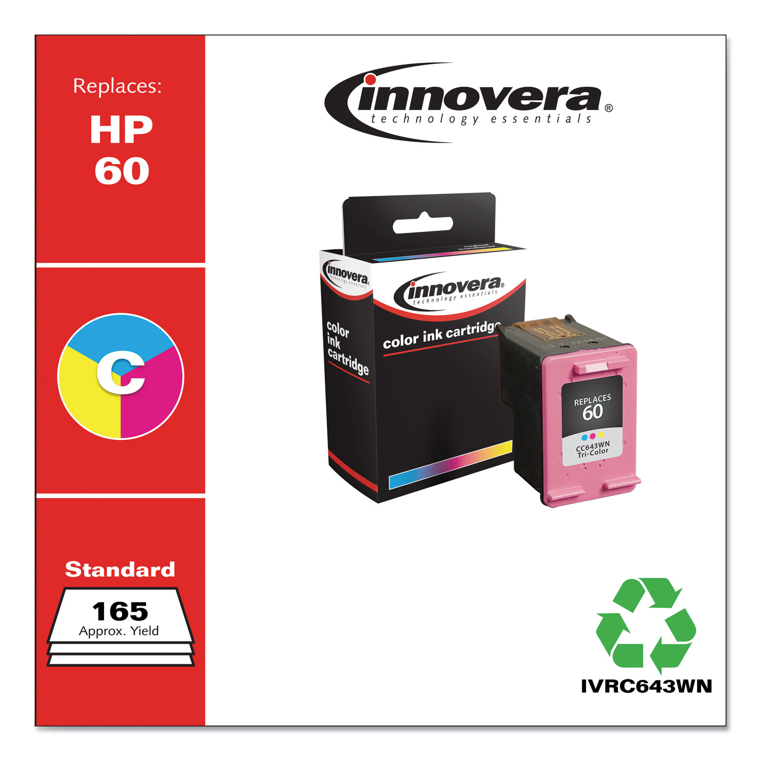 Remanufactured Tri-Color Ink, Replacement for HP 60 (CC643WN), 165 Page-Yield IVRC643WN