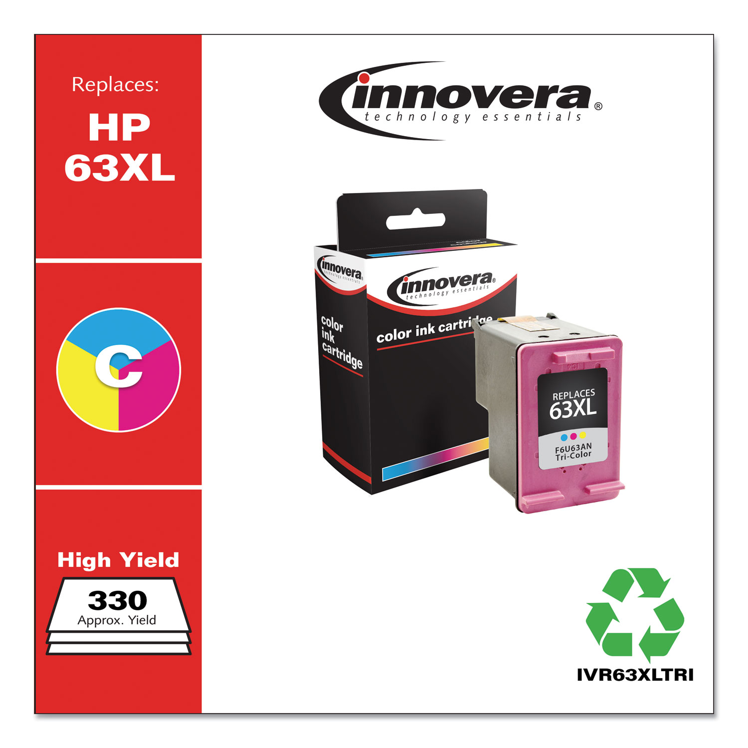 Remanufactured Tri-Color High-Yield Ink, Replacement for HP 63XL (F6U63AN), 330 Page-Yield IVR63XLTRI