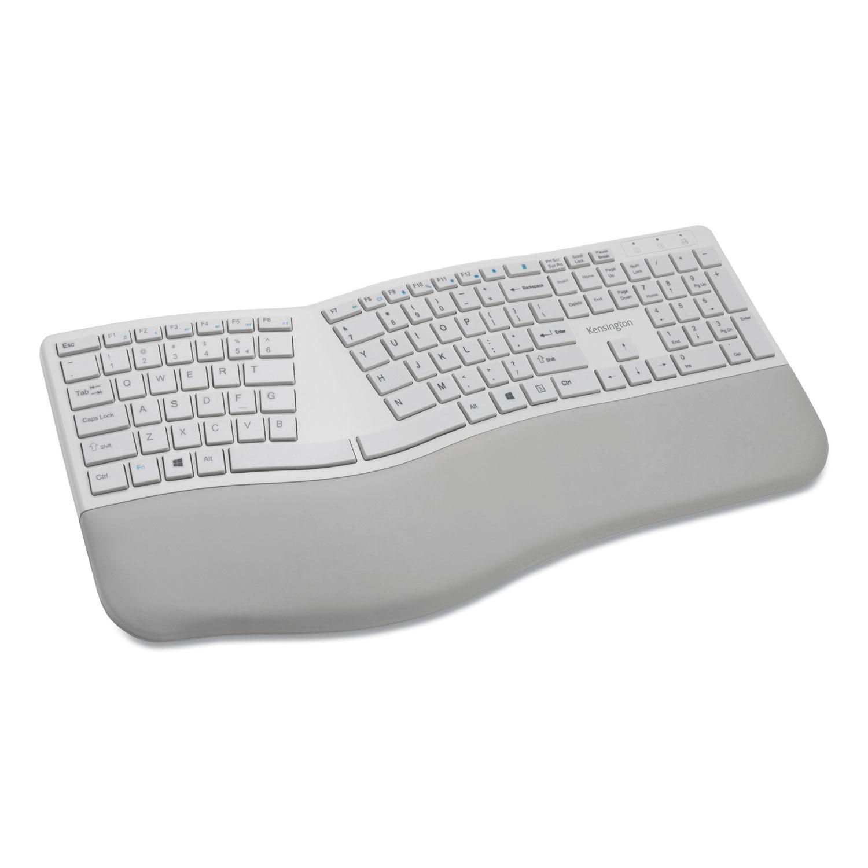 Kensington® Pro Fit Ergo Wireless Keyboard, 18.98 x 9.92 x 1.5, Gray