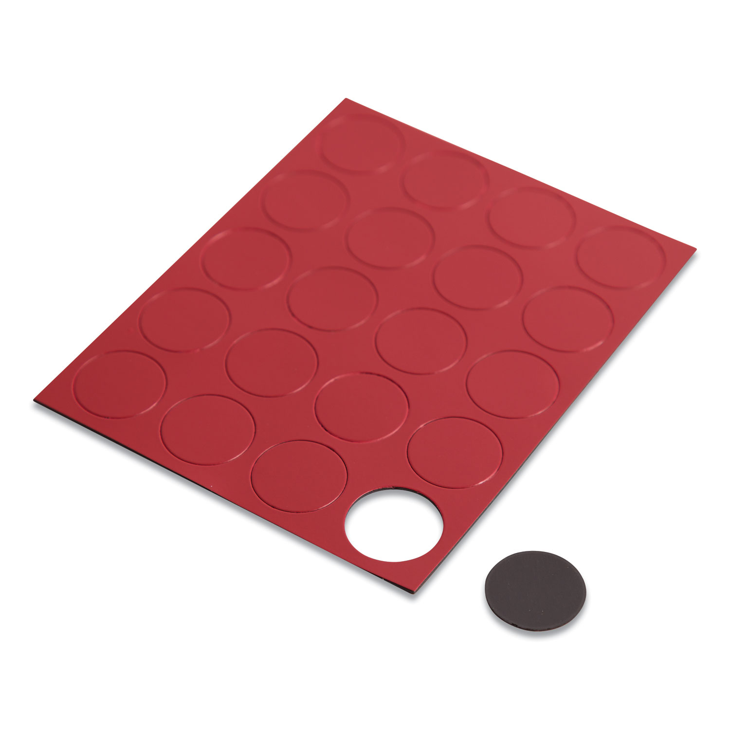 "Heavy-Duty Board Magnets, Circles, Red, 0.75"", 20/Pack"