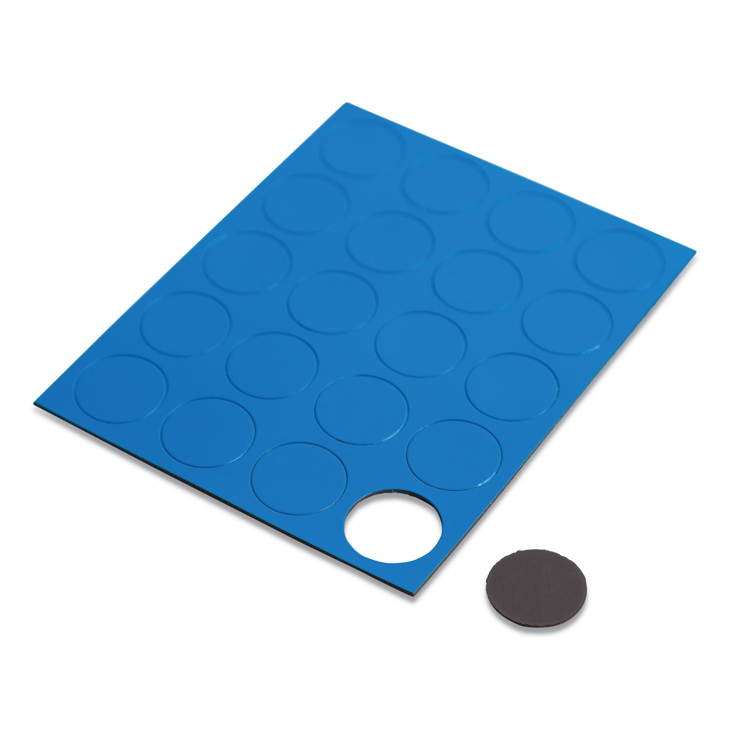 """Heavy-Duty Board Magnets, Circles, Blue, 0.75"""", 20/Pack"""