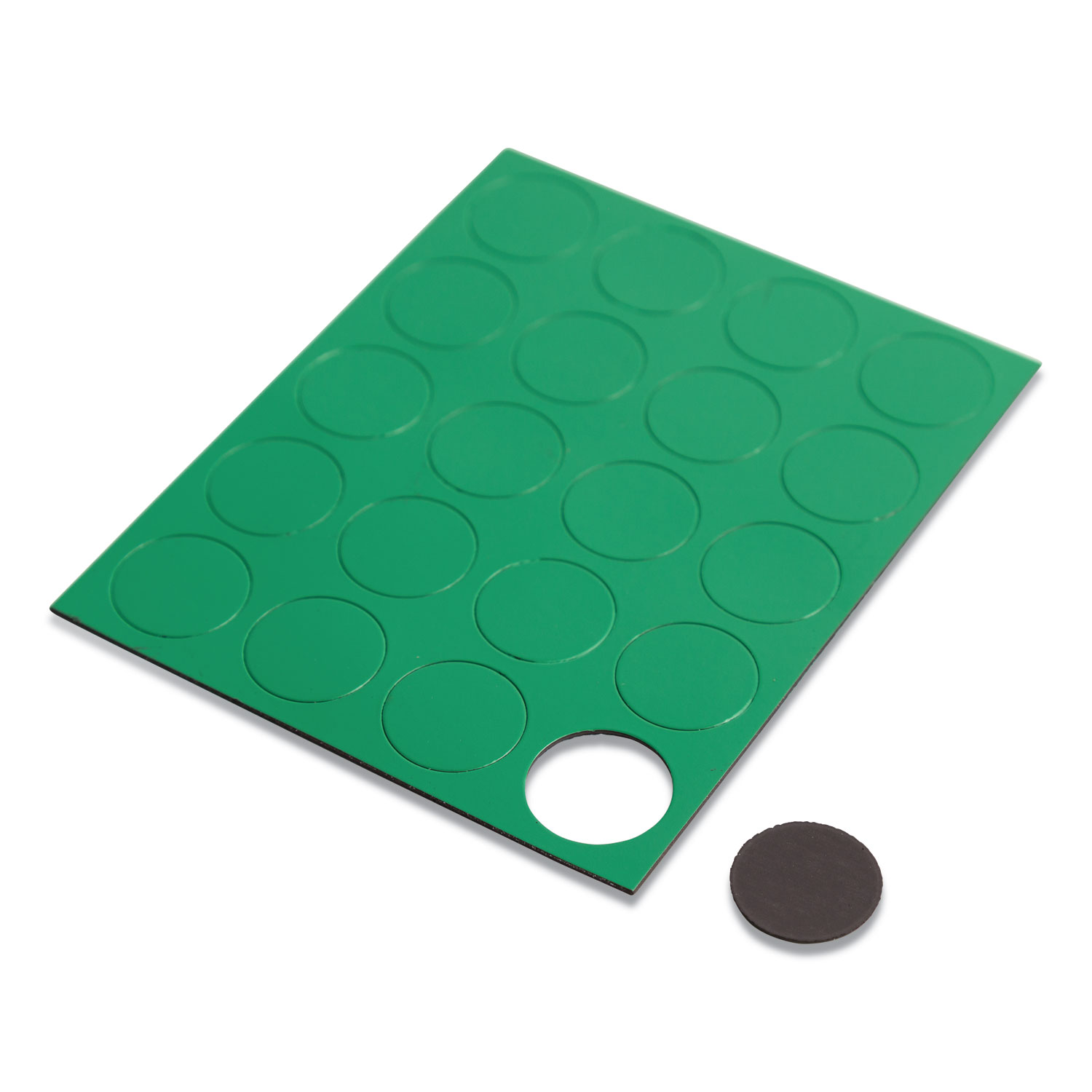 """Heavy-Duty Board Magnets, Circles, Green, 0.75"""", 20/Pack"""