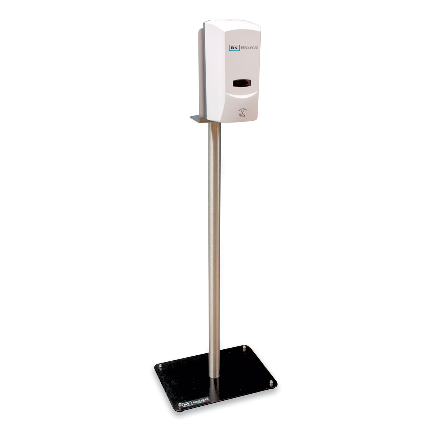 BK Resources Hand Sanitizer Stand with Hands Free Dispenser, 12 x 16 x 51, Silver/White