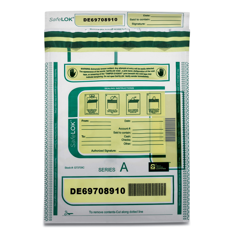 SafeLOK™ Deposit Bag, 9 x 12, 2 mil Thick, Plastic, Clear, 100/Pack