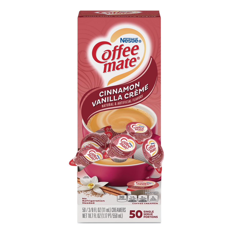 Liquid Coffee Creamer, Cinnamon Vanilla, 0.38 oz Mini Cups, 50/Box
