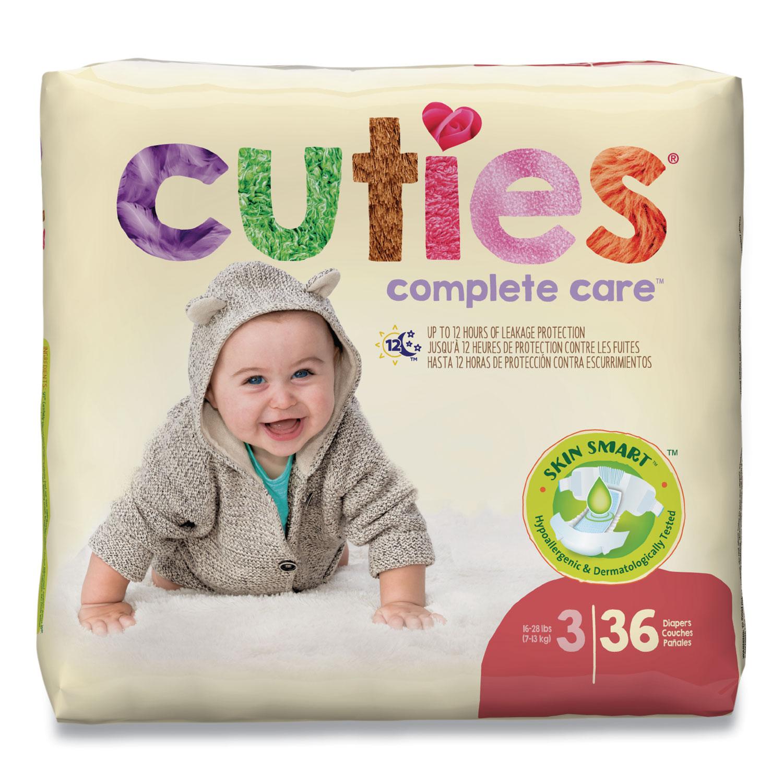 Cuties® Premium Jumbo Diapers, Size 3, 16 lbs to 28 lbs, 144/Carton