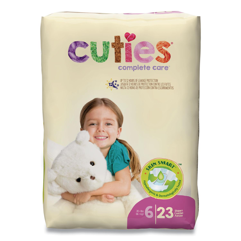 Cuties® Premium Jumbo Diapers, Size 6, 35 lbs and Up, 92/Carton