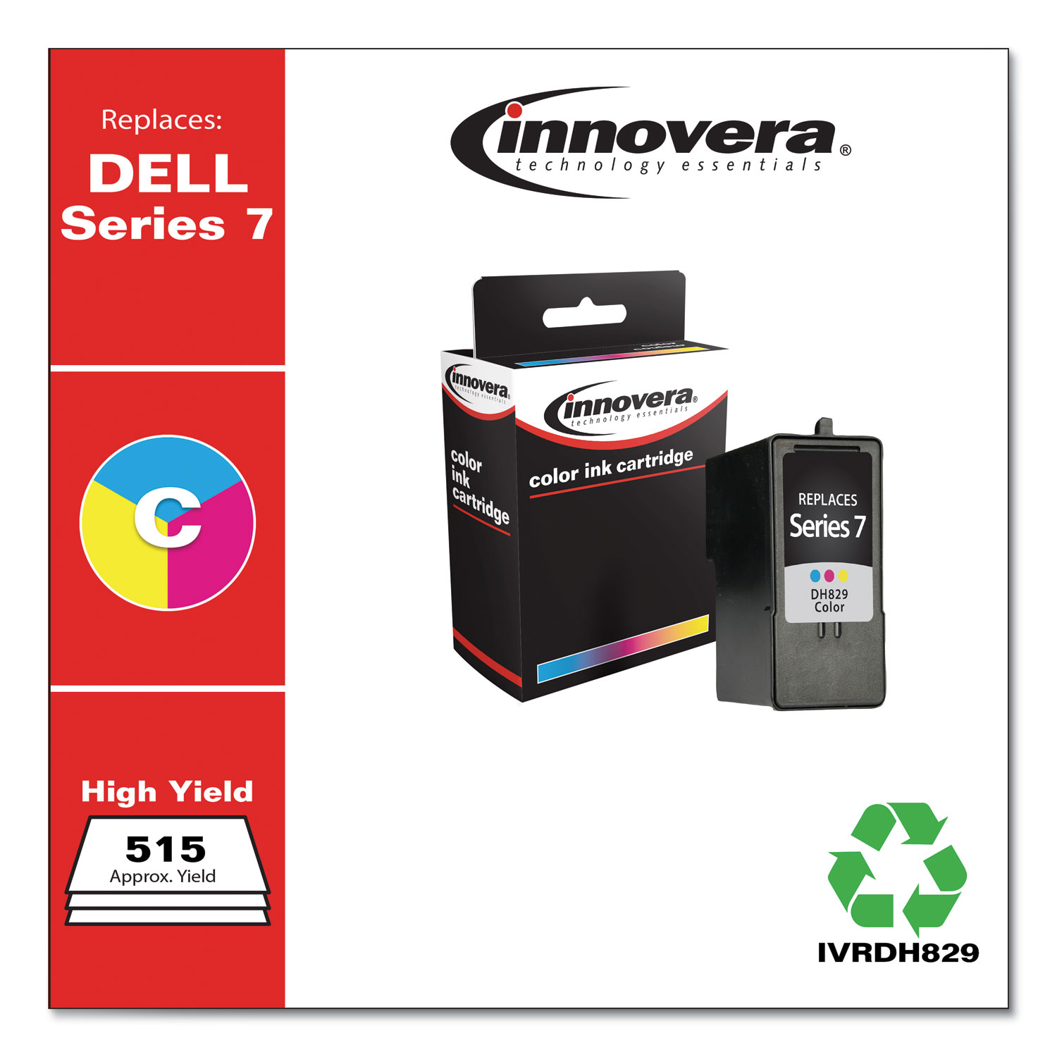 Remanufactured Tri-Color High-Yield Ink, Replacement for Dell Series 7 (CH884), 515 Page-Yield IVRDH829