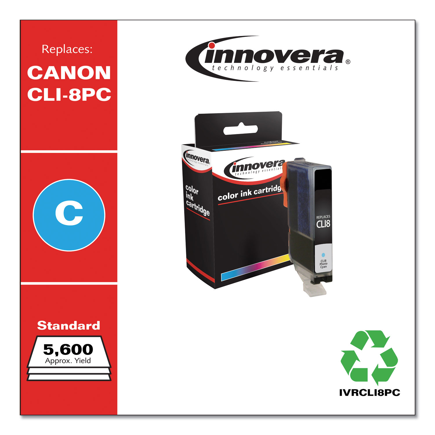 Remanufactured Photo Cyan Ink, Replacement for Canon CLI8PC (0624B002), 5,715 Page-Yield IVRCLI8PC