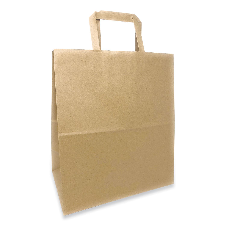 Prime Time Packaging Kraft Paper Bags, 1/7th BBL 12 x 7 x 14, Natural, 300/Bundle