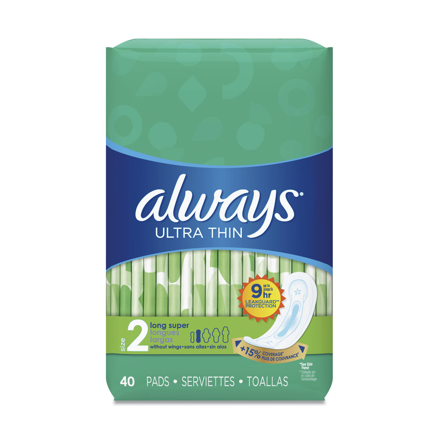 Always® Ultra Thin Pads, Super Long 10 Hour, 40/Pack